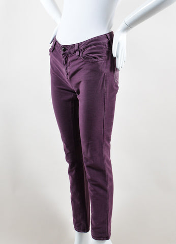 Chanel Mauve Purple Denim Metallic Slim Fit Jeans Sideview