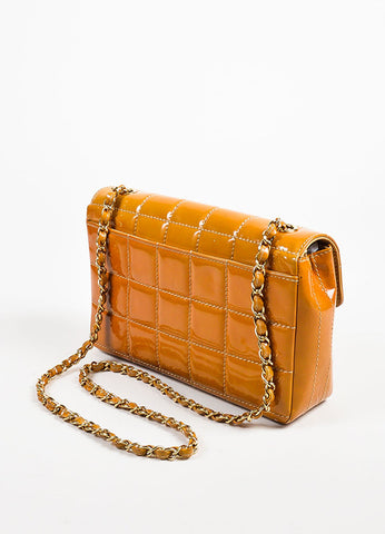"Chanel Tan Patent Leather Quilted ""Chocolate Bar"" Flap Bag Sideview"