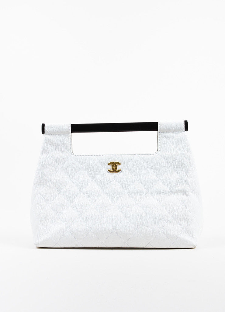 Chanel White and Black Quilted Caviar Leather Magnetic Wooden Handle Handbag Frontview