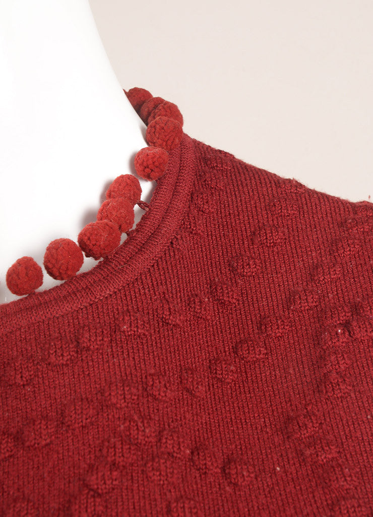 Christian Dior Red Wool Embossed Pom Pom Sleeveless Knit Top Detail