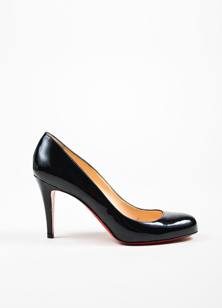 "Black Christian Louboutin Patent Leather ""Simple"" Pumps Side"