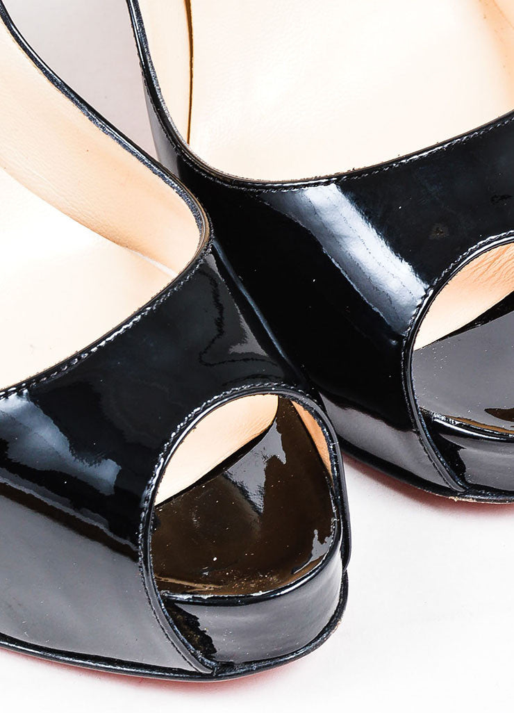 Black Christian Louboutin Patent Leather Peep Toe Pumps Detail