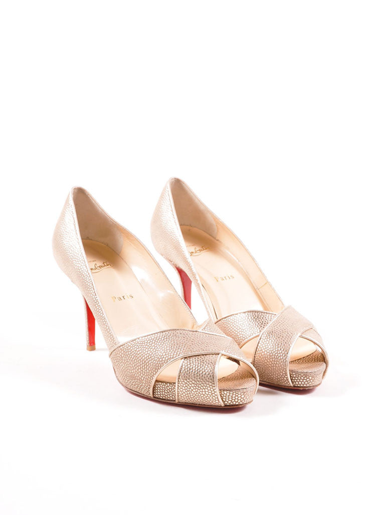"Christian Louboutin Gold Metallic Pebbled Leather Peep Toe ""Shelley"" Pumps Frontview"