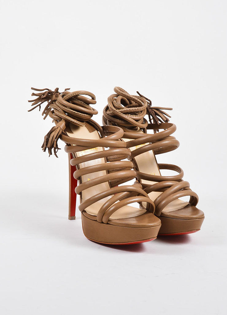 "Christian Louboutin Beige Leather Tube Wrap ""Tina 140"" Sandals Frontview"