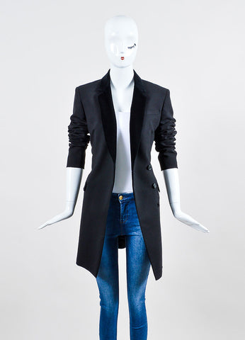 Black Christopher Kane Velvet Trim Longline Blazer Jacket Frontview