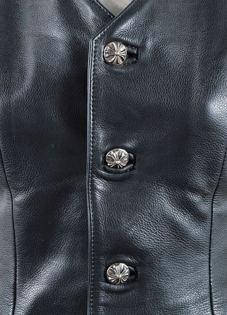 Chrome Hearts Black Leather Lace Up and Buttoned Vest Detail