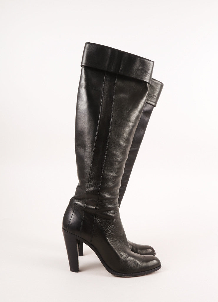 Costume National Black Leather Knee-Hight Foldover High Heel Boots Sideview 2