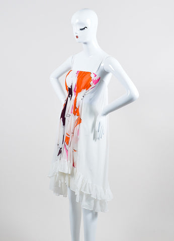 "Diane von Furstenberg White and Orange Silk Sleeveless ""Sybil"" Dress"