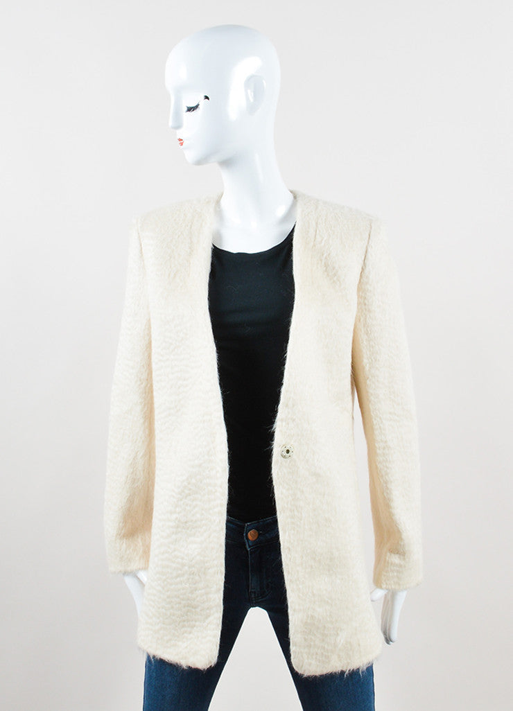 "Edun Cream Soft Alpaca Knit ""Baby Suri"" Side Slit Blazer Frontview"