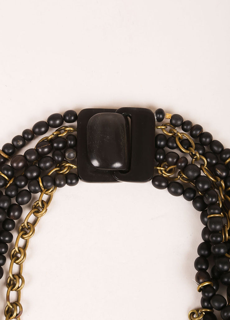 Gerda Lynggaard Monies Black, Brown, and Gold Toned Metal and Wood Beaded Layered Necklace Detail 2