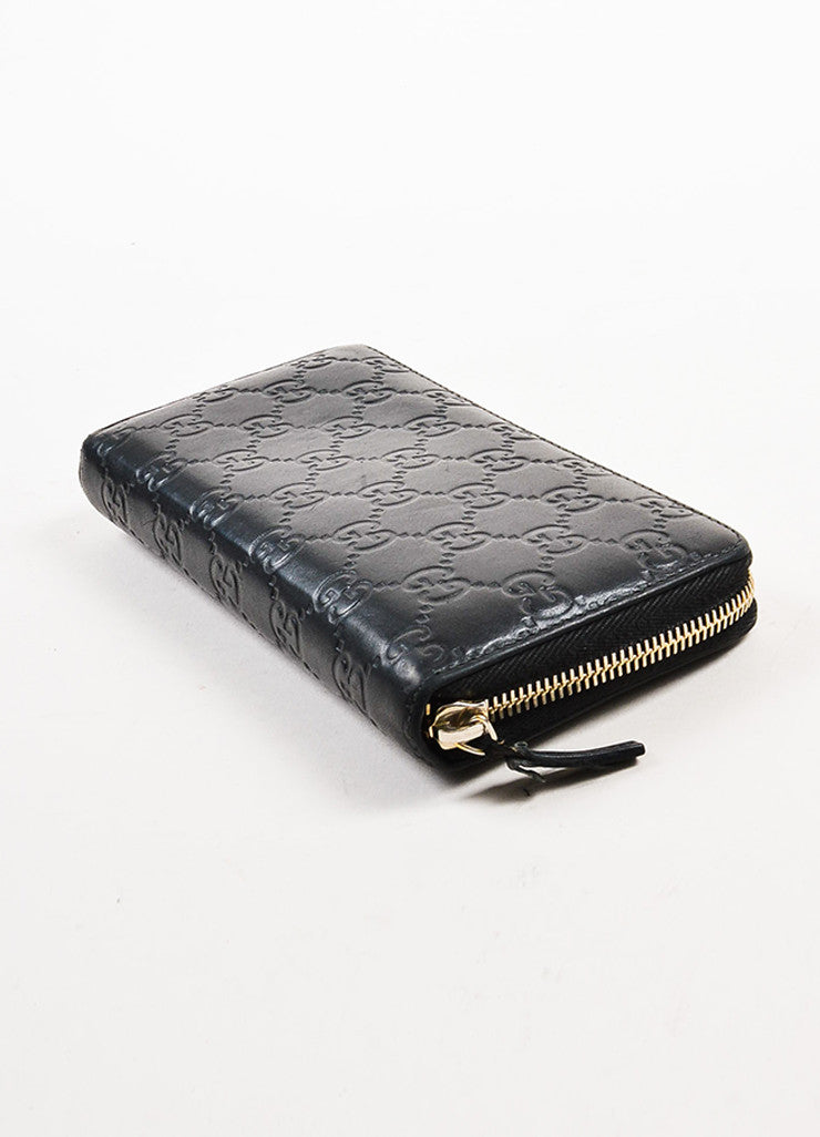 "Gucci Black Leather ""Guccissima"" Monogram ""GG"" Long Zip Wallet Sideview"
