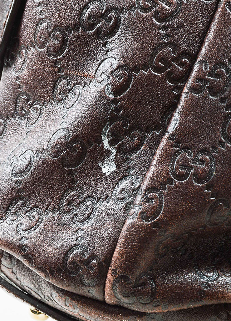 "Gucci Brown 'GG' Embossed Guccissima Leather Braided Handle ""Pelham"" Tote Bag Detail 4"