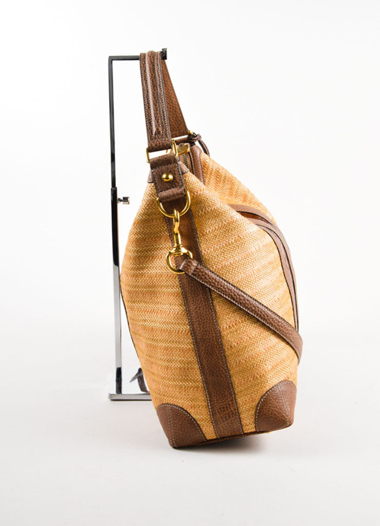 "Gucci Brown Straw and Crocodile Leather ""Secret"" Hobo Bag Sideview"