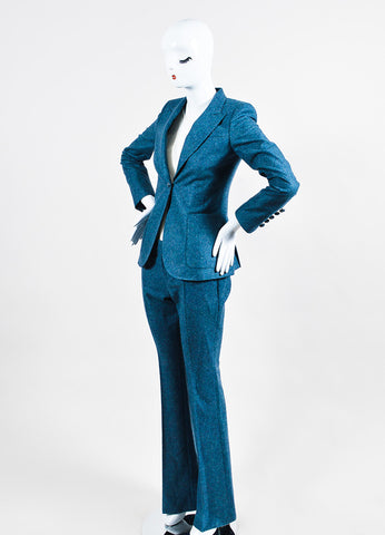 Blue Gucci Speckled Wool Jacket and Trousers Suit Set Side