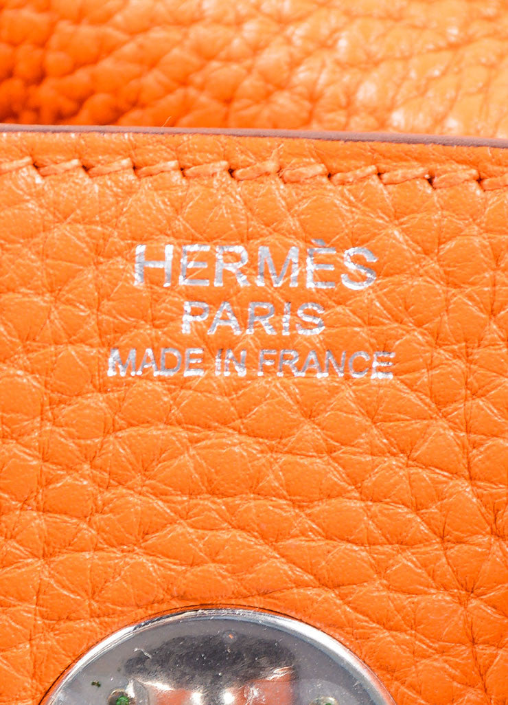 "Hermes Fire Orange Taurillon Clemence Calfskin Leather 30cm ""Lindy"" Bag Brand"