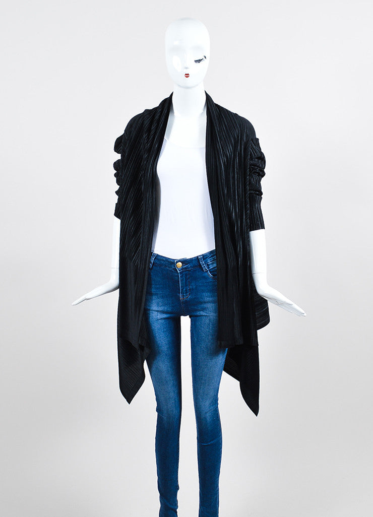 Black Issey Miyake White Label Pleated Open Draped Cardigan Frontview