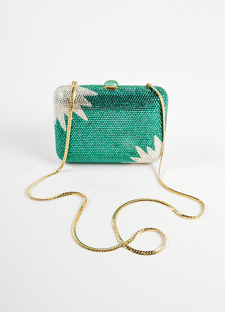 Judith Leiber Green and Clear Rhinestone Crystal Chain Strap Small Minaudiere Clutch Bag Strap