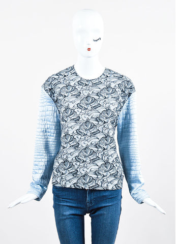 Kenzo Light Blue and Grey Metallic Textured Brocade Sweater Top Frontview