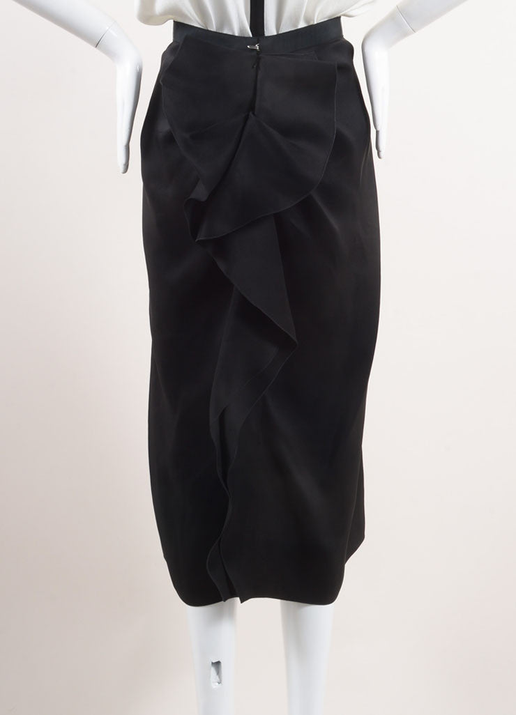 Lanvin Black Silk Ruffle Panel Midi Skirt Backview