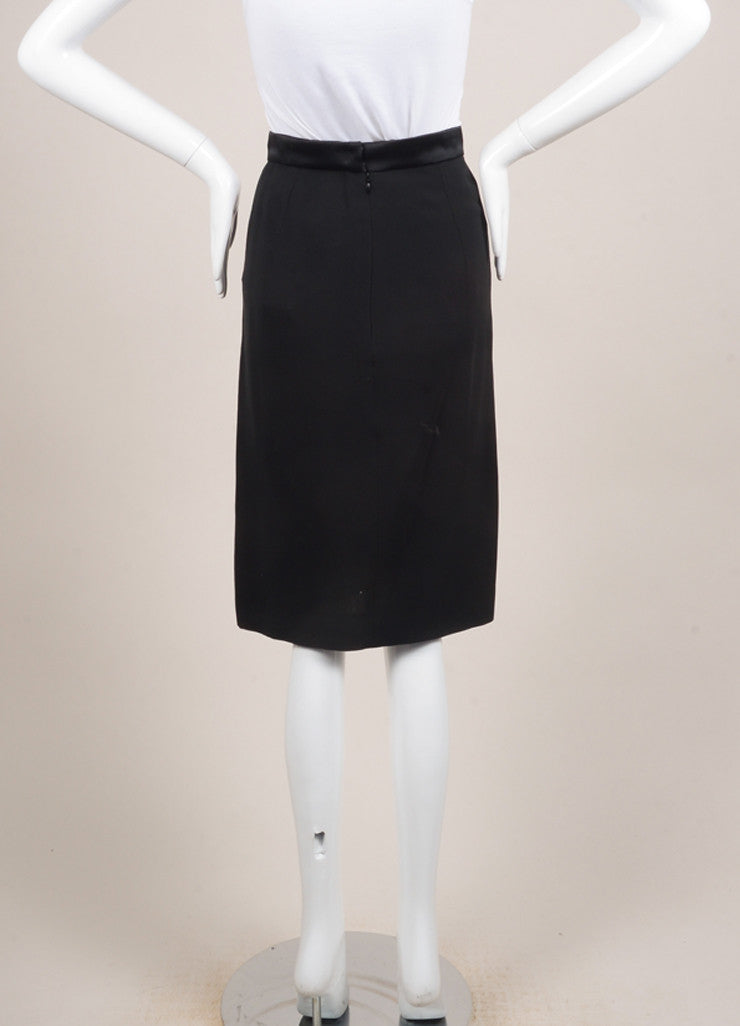 Lanvin New With Tags Black Satin and Silk Blend Tux Band Pencil Skirt Backview