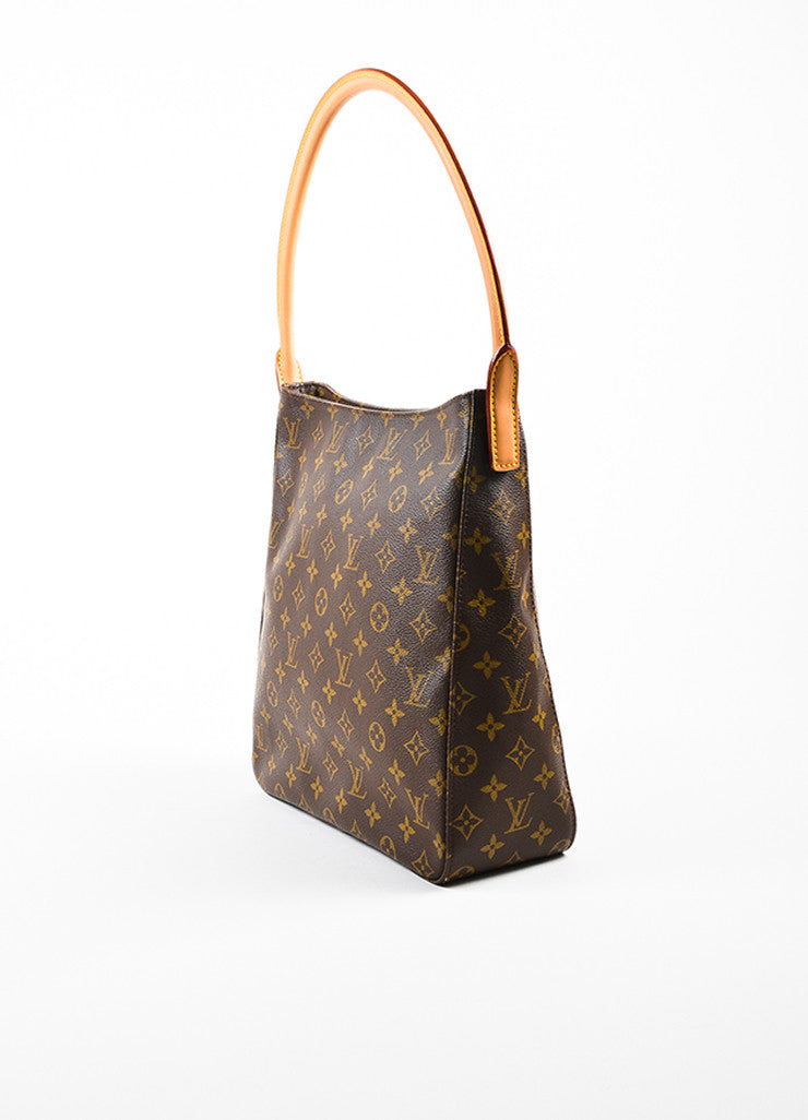 "Brown Louis Vuitton Coated Canvas Monogram ""Looping GM"" Tote Back"