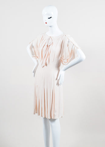 Pale Pink Louis Vuitton Pleated Cut Out Bow Short Sleeve Dress  Sideview