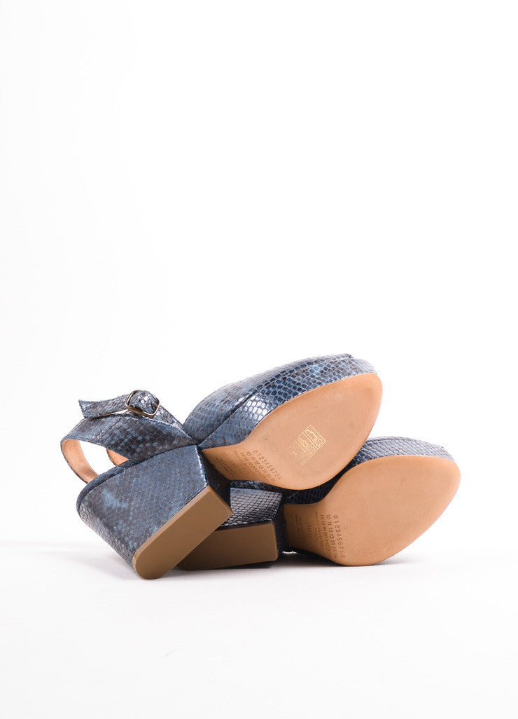 Maison Martin Margiela Blue Snakeskin Peep Toe Wedge Sandals Outsoles
