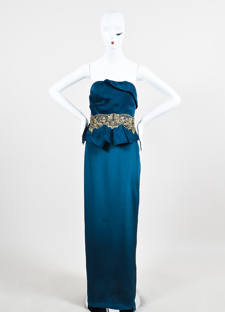 Marchesa Notte Teal Silk Jewel Sequin Embellished Strapless Gown Frontview