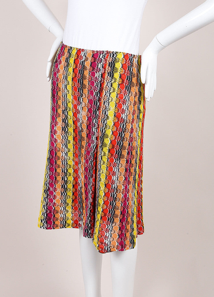 Missoni Multicolor Linen Blend Knit Pleated Skirt Sideview