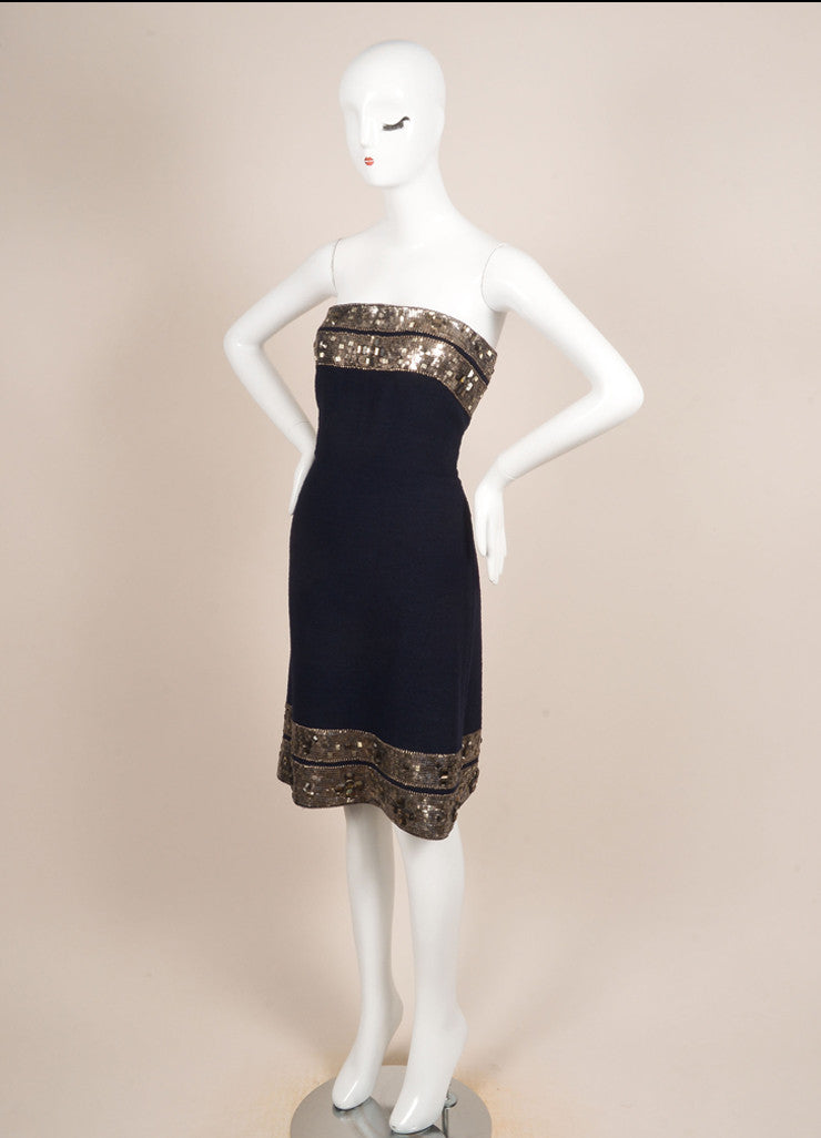 Oscar de la Renta Navy and Silver Wool Boucle Jewel Beaded Strapless Dress Sideview