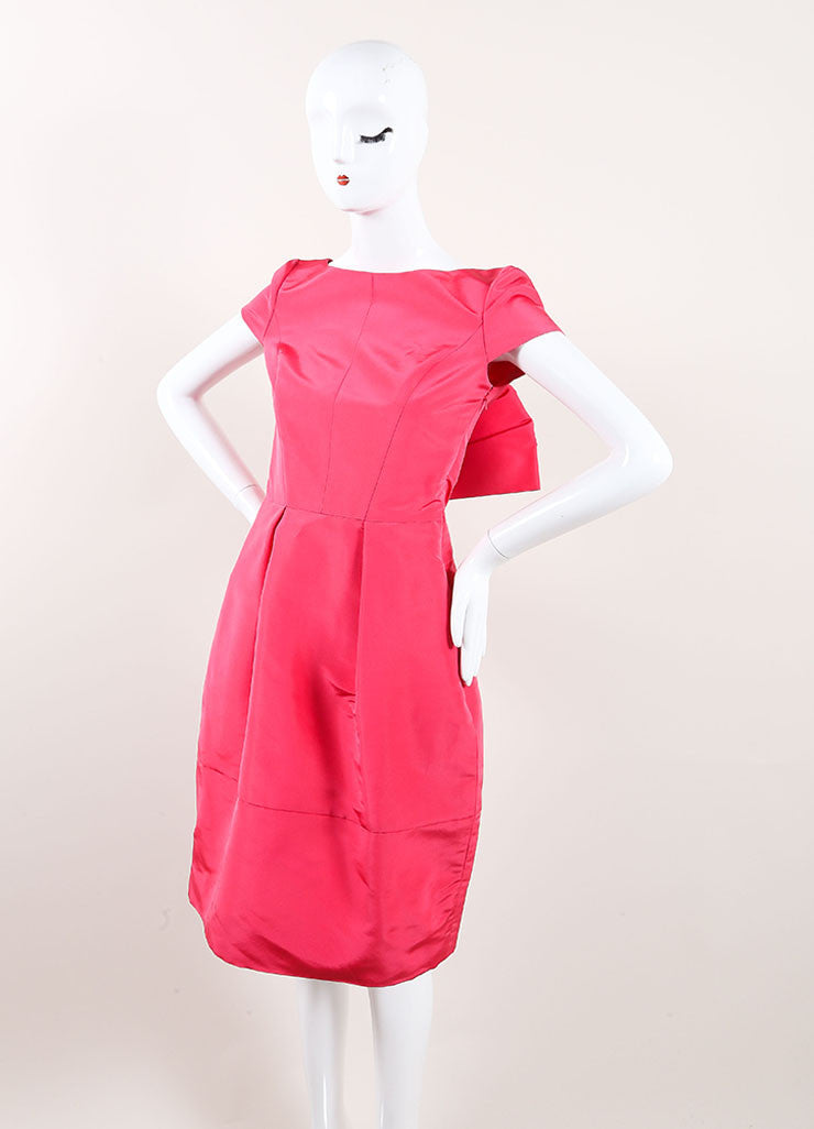 Oscar de la Renta New With Tags Pink Silk Bow Back Cap Sleeve Bell Dress Sideview