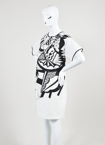 White and Black Piazza Sempione Cotton Printed Short Sleeve Shift Dress Sideview
