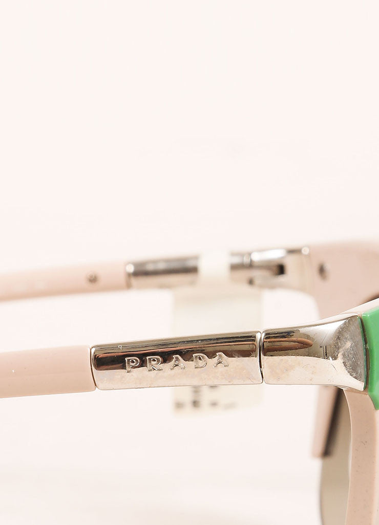 "Prada Pink, Green, and Silver Toned Retro Style ""SPR61O"" Clubmaster Sunglasses Detail"