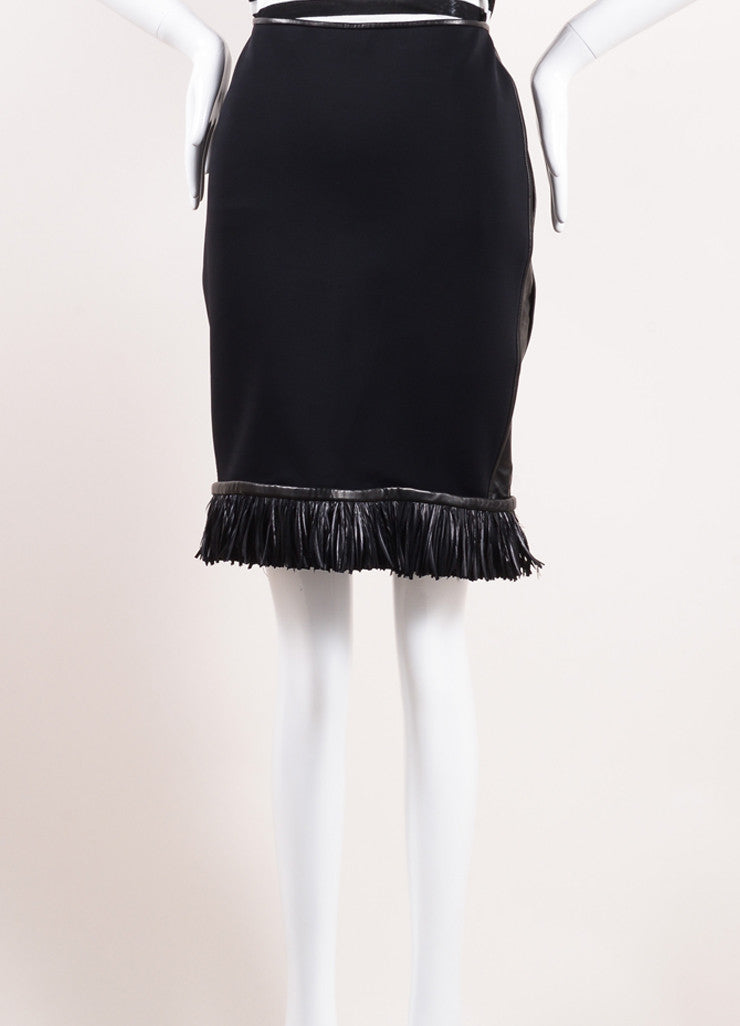 Reed Krakoff Black Neoprene Leather Fringe Feather Pencil Skirt Frontview