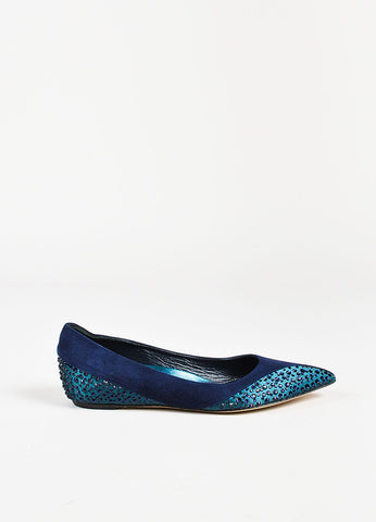 Rene Caovilla Navy Suede Satin Trim Embellished Pointy Toe Flats Sideview