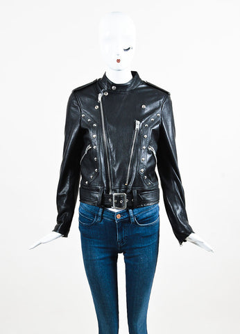 Saint Laurent Black Lamb Leather Studded Belted Moto Jacket Frontview 2