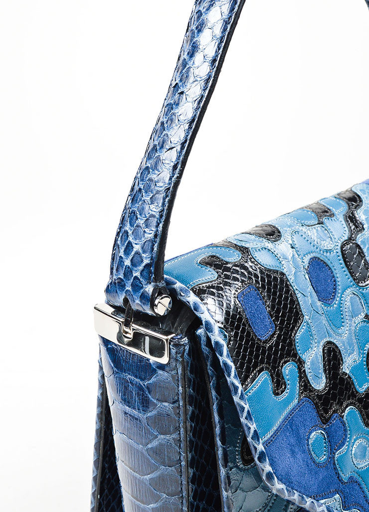 Blue and Black Salvatore Ferragamo Snakeskin and Suede Patchwork Top Flap Shoulder Bag Detail 2