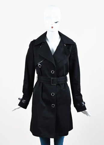 Tod's Black Cotton and Leather Trim Single Breasted and Belted Trench Coat Frontview