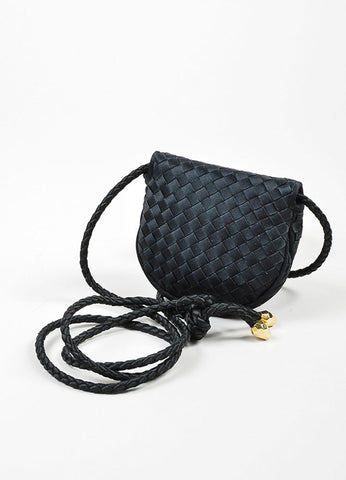 Black Bottega Veneta Satin Intrecciato Woven Mini Crossbody Flap Bag Backview