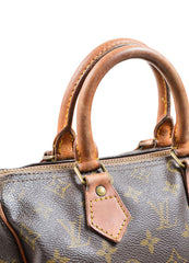 "Brown Coated Canvas and Leather Monogram ""Speedy 25"" Satchel Bag"