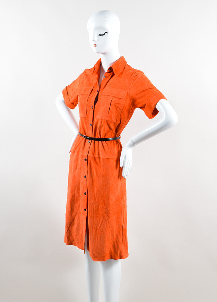 Victoria Beckham Orange Suede Short Sleeve Belted Shirt Dress Sideview