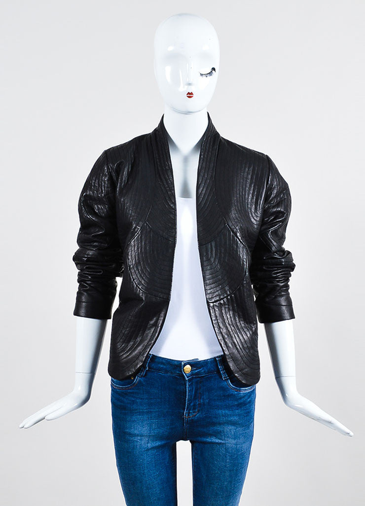 "Black Vilshenko Leather Circular Top Stitched Open ""Kate"" Jacket Front"