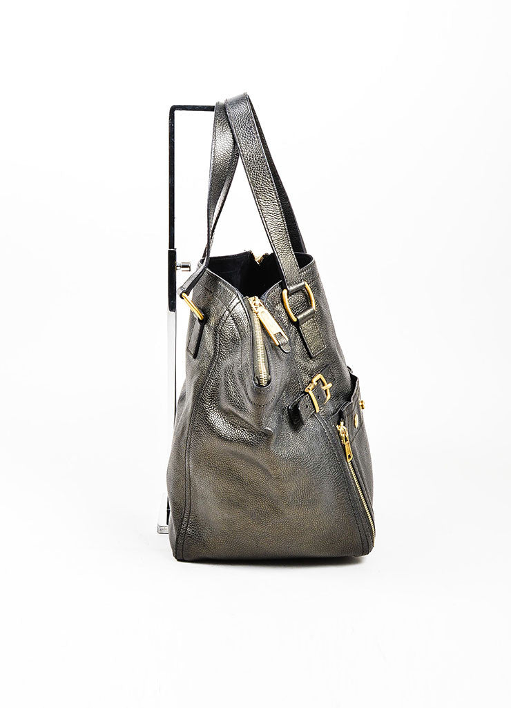 "Brown Metallic Leather Yves Saint Laurent ""Small Downtown"" Carryall Tote Handbag Sideview"
