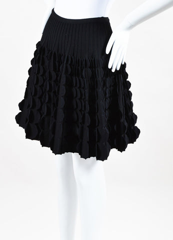 Alaia Black Wool Blend Scallop Paneled Flare A Line Skirt Side
