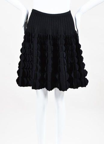 Alaia Black Wool Blend Scallop Paneled Flare A Line Skirt Front