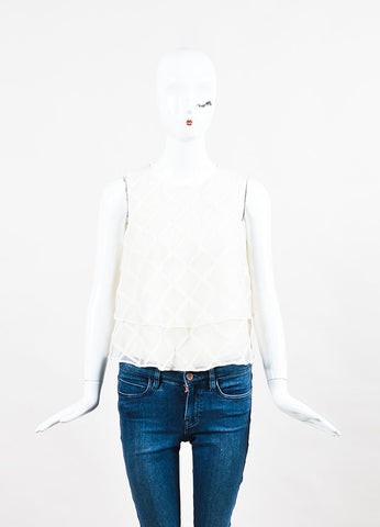 Brunello Cucinelli Cream Organza Diamond Pattern Layered Top Frontview