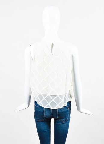 Brunello Cucinelli Cream Organza Diamond Pattern Layered Top Backview