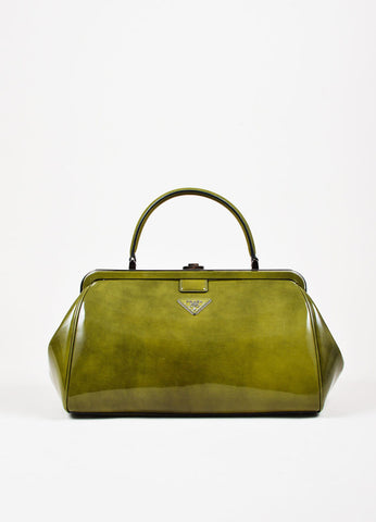 Prada Green Patent Leather Silver Toned Push Button Structured Frame Bag Frontview