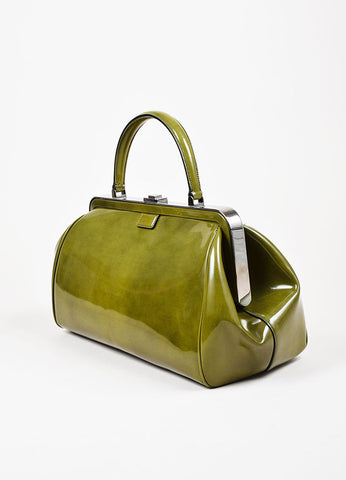 Prada Green Patent Leather Silver Toned Push Button Structured Frame Bag Sideview