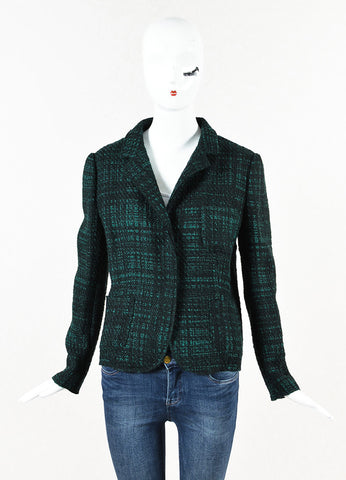 Prada Black Green Boucle Virgin Wool Snap Front Collared Jacket Front